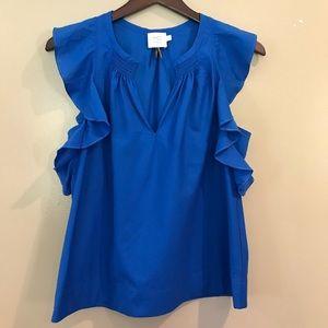 HD Paris Royal Blue Flutter Sleeve Top Size 8